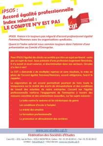 IPSOS : Accord égalité professionnelle – Index salarial : Le compte n'y est pas