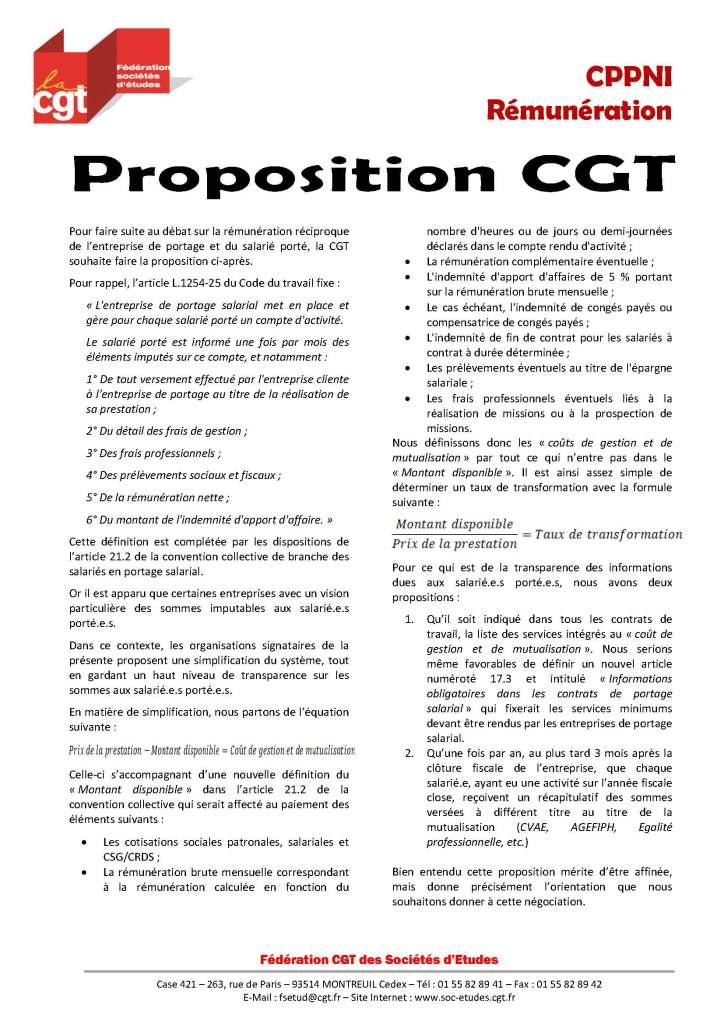 Proposition CGT sur la rémunération