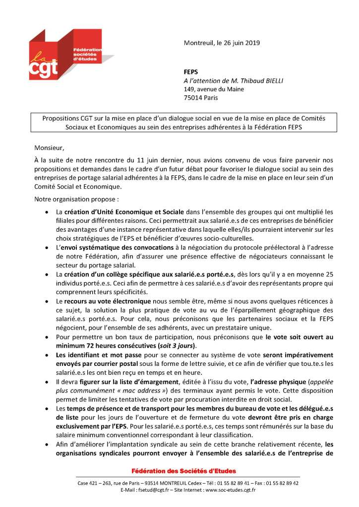 Propositions CGT sur la mise en place d'un dialogue social en vue de la mise en place de Comités Sociaux et Economiques au sein des entreprises adhérentes à la Fédération FEPS