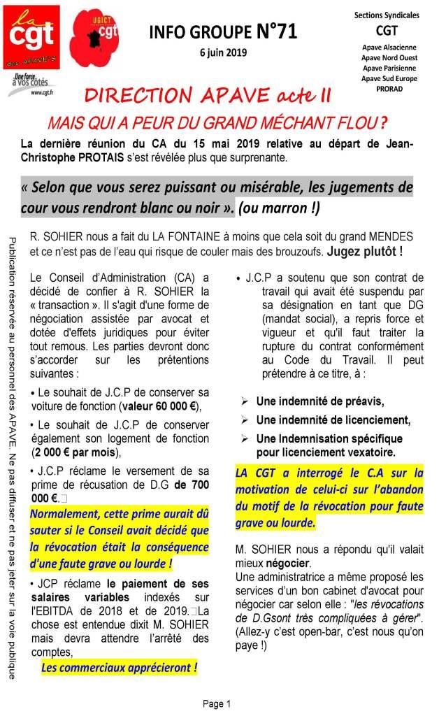 APAVE : Info groupe n°71