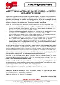 La CGT appelle les salarié.e.s des cabinet d'avocats à manifester les 16 et 24 septembre 2019
