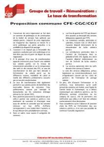 Position commune CFE-CGC / CGT sur les négociations sur le taux de transformation