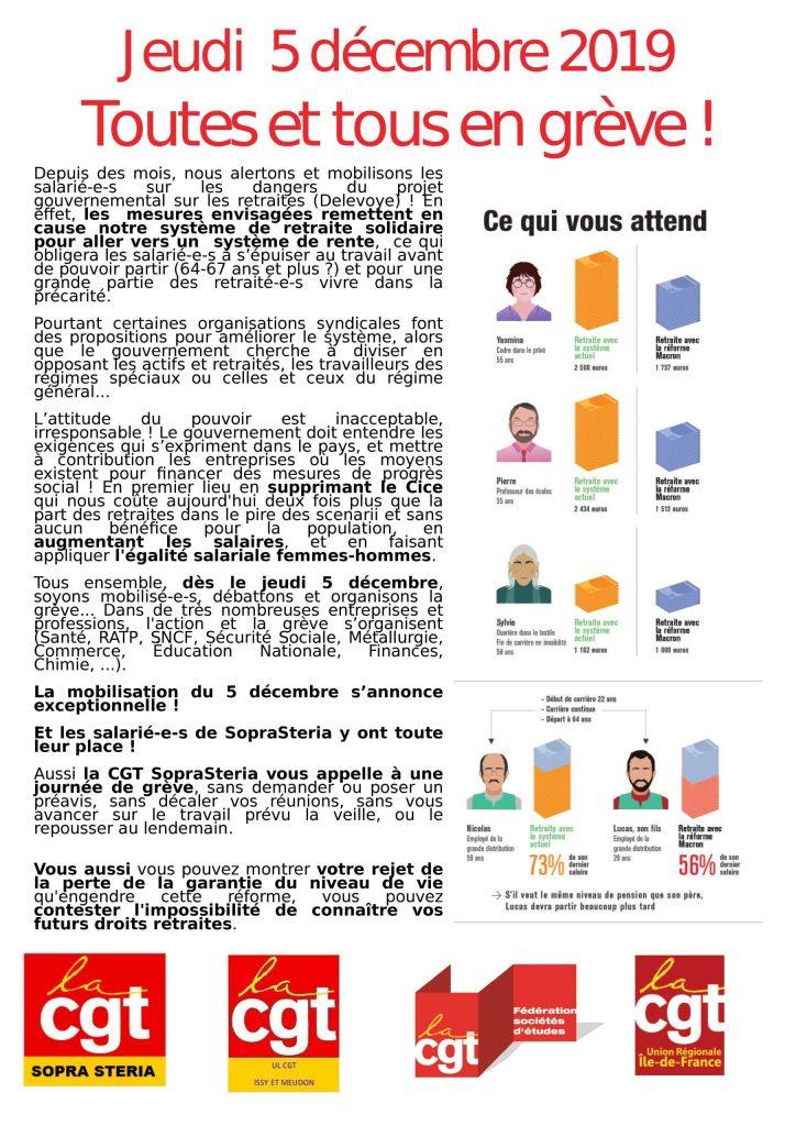 SOPRA-STERIA : Jeudi 5 décembre 2019 Toutes et tous en grève !