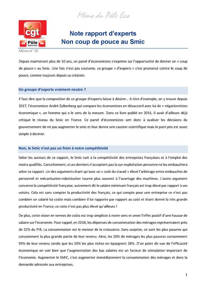Mémo du Pôle Eco n°30 : Note rapport d'experts – Non coup de pouce au Smic