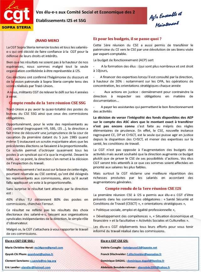 SOPRA-STERIA : Vos élu-e-s aux Comité Social et Economique des 2 Etablissements I2S et SSG – Décembre  2019