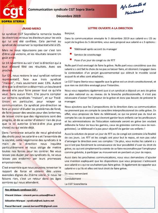 SOPRA-STERIA : Communication syndicale CGT – Décembre 2019