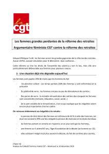 Les femmes grandes perdantes de la réforme des retraites – Argumentaire féministe CGT contre la réforme des retraites