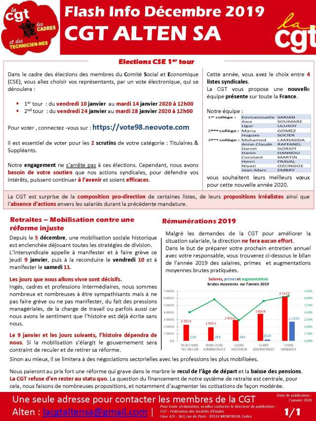Flash Info Décembre 2019 – CGT ALTEN SA