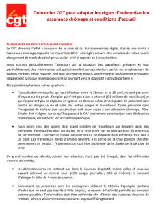 Demandes CGT pour adapter les règles d'indemnisation assurance chômage et conditions d'accueil
