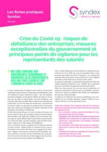 Crise du Covid-19 : risques de défaillance des entreprises, mesures exceptionnelles du gouvernement et principaux points de vigilance pour les représentants des salariés