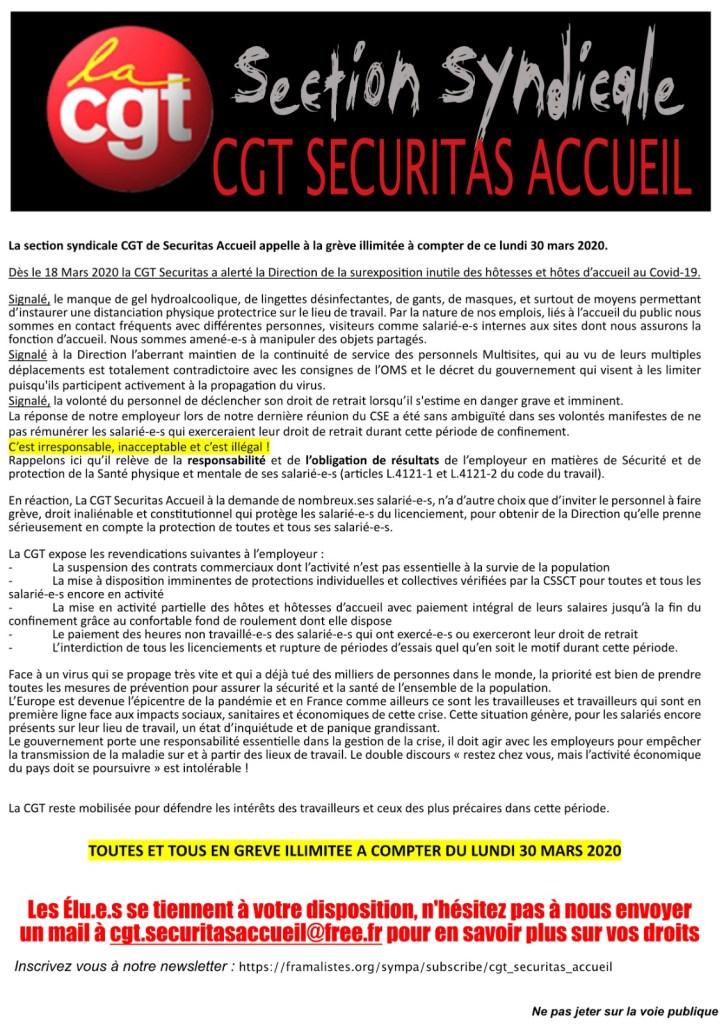 La section syndicale CGT de securitas Accueil appelle à la grève illimitée à compter de ce lundi 30 mars 2020