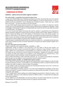 Industrie : reprise du travail contre urgence sanitaire !