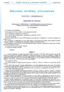Ordonnance no 2020-389 du 1er avril 2020 portant mesures d'urgence  relatives aux instances représentatives du personnel