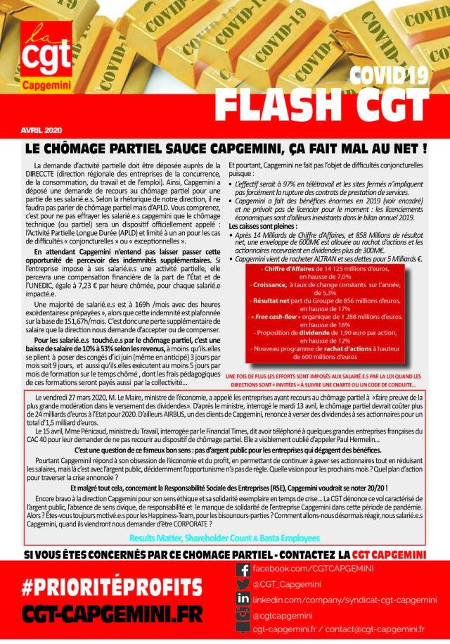 CAPGEMINI : Covid 19 – Flash CGT – Avril 2020