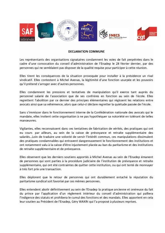 Déclaration commune CGT / CFE-CGC / Syndicats patronaux Avocats