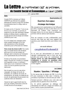 La Lettre du représentant CGT du personnel du CSE du Cabinet LEDOUX n°1 – Janvier 2020
