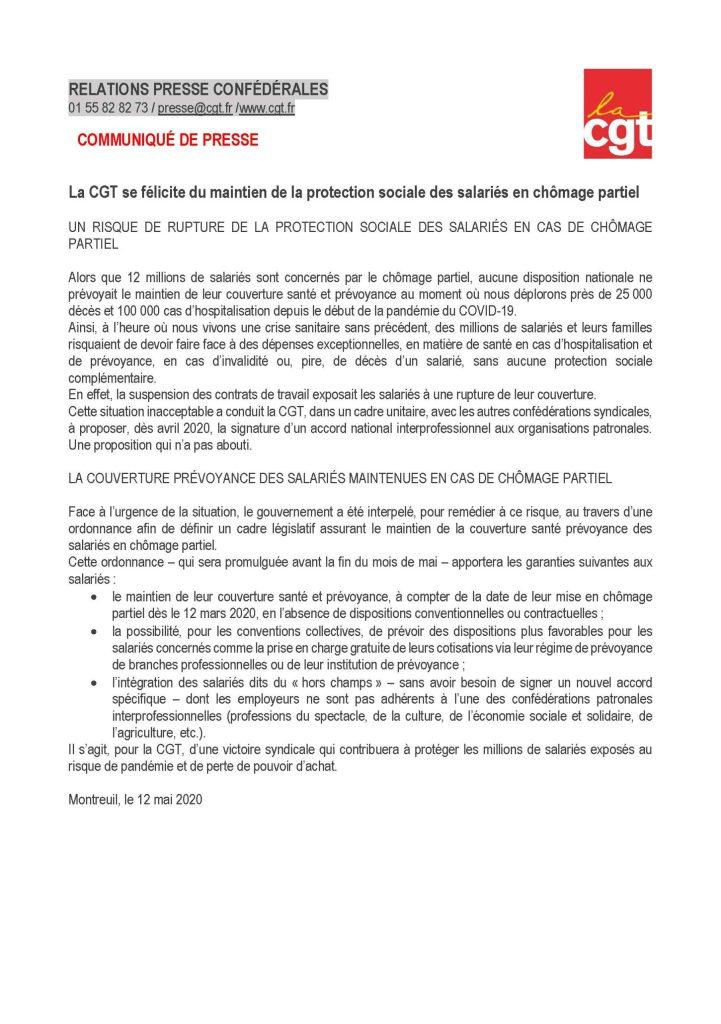 La CGT se félicite du maintien de la protection sociale des salariés en chômage partiel