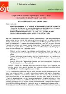 Compte rendu de la réunion organisée par E.Macron à l'Elysée réunissant les OS et les OP le jeudi 4 juin 2020