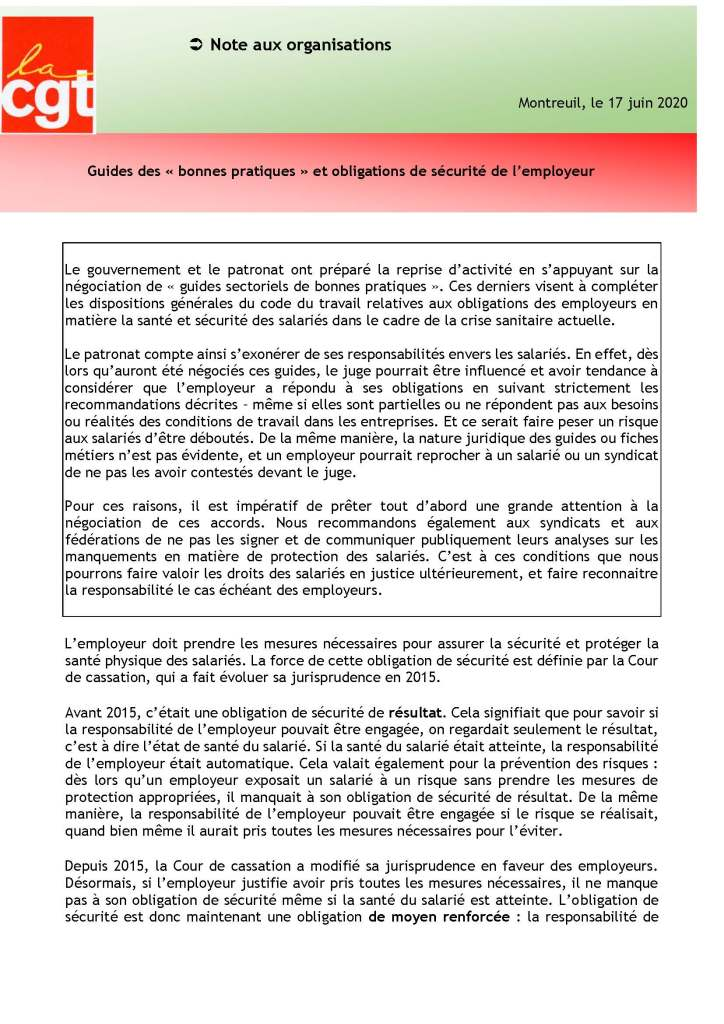 Guides des « bonnes pratiques » et obligations de sécurité de l'employeur
