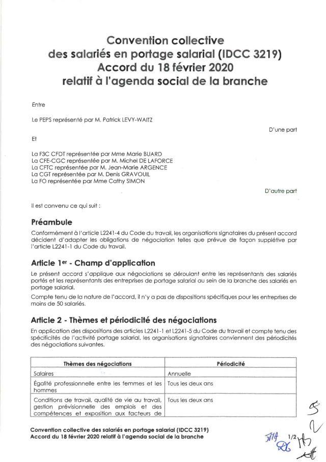 Accord du 18 février 2020 relatif à l'agenda social de la branche