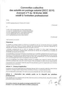 Avenant n°7 du 18 février 2020 relatif à l'entretien professionnel