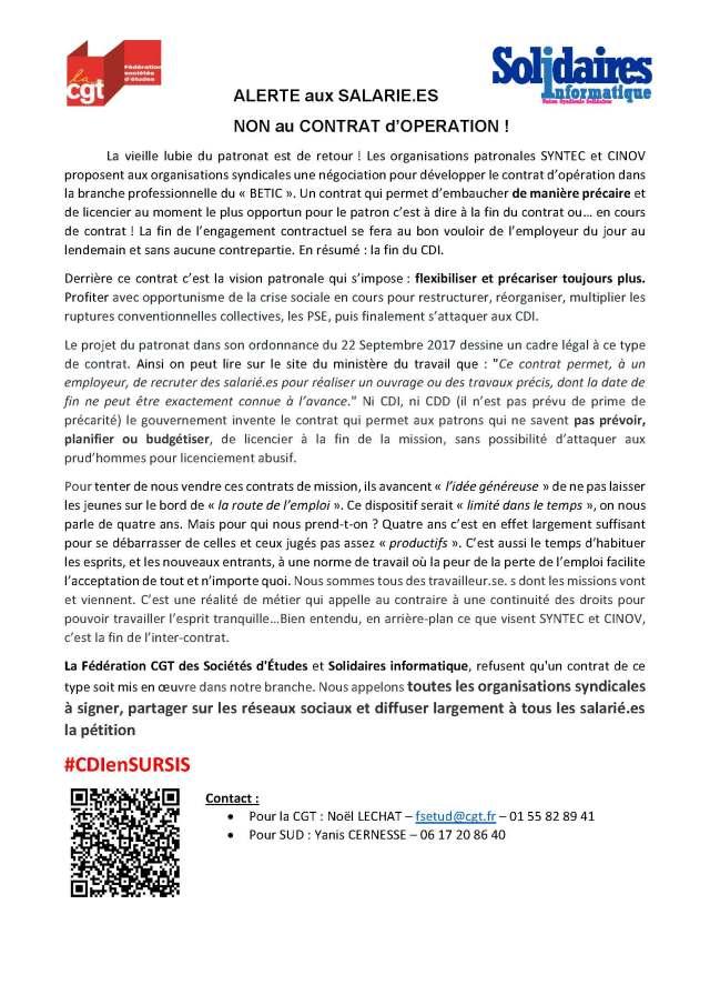 Alerte aux salarié.es – Non au contrat d'opération !