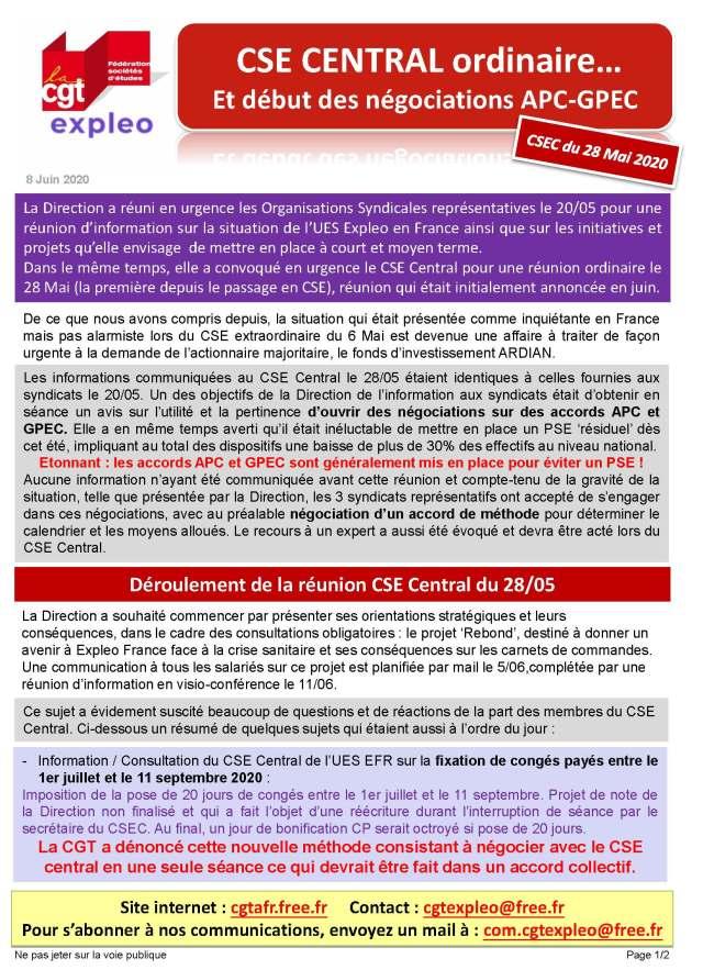 EXPLEO : CSE Central ordinaire et début des négociations APC-GPEC