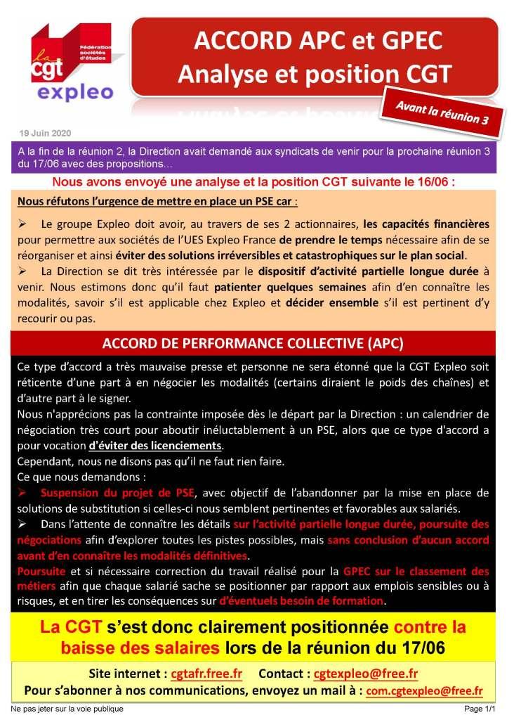EXPLEO : Accords APC et GPEC – Analyse et position CGT