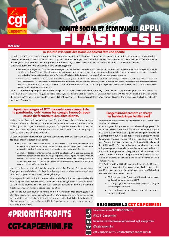 CAPGEMINI : APPLI FLASH CSE – Mai 2020
