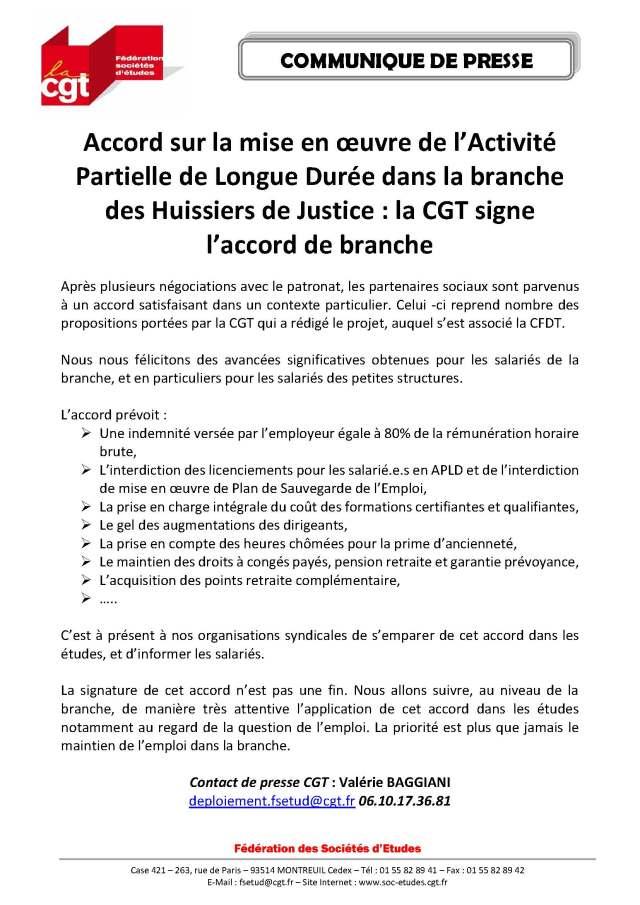 Accord sur la mise en œuvre de l'Activité Partielle de Longue Durée dans la branche des Huissiers de Justice : la CGT signe l'accord de branche