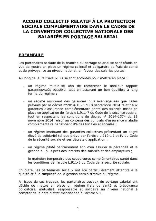 Accord collectif du 12 novembre 2020 relatif à la protection sociale complémentaire dans le cadre de la convention collective nationale des salariés en portage salarial