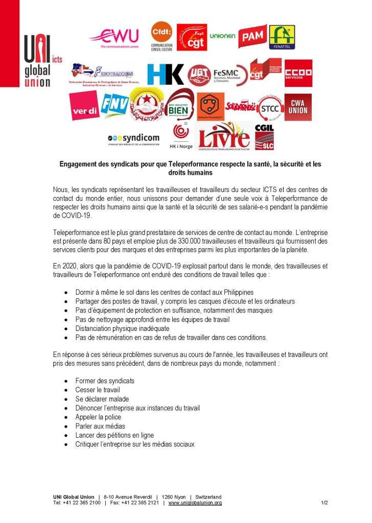 UNI GLOBAL UNION : Engagement des syndicats pour que Teleperformance respecte la santé, la sécurité et les droits humains