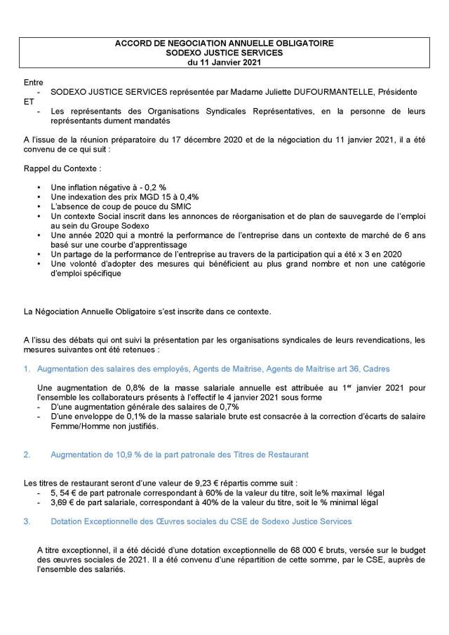 SODEXO Justice Services : Accord NAO 2021