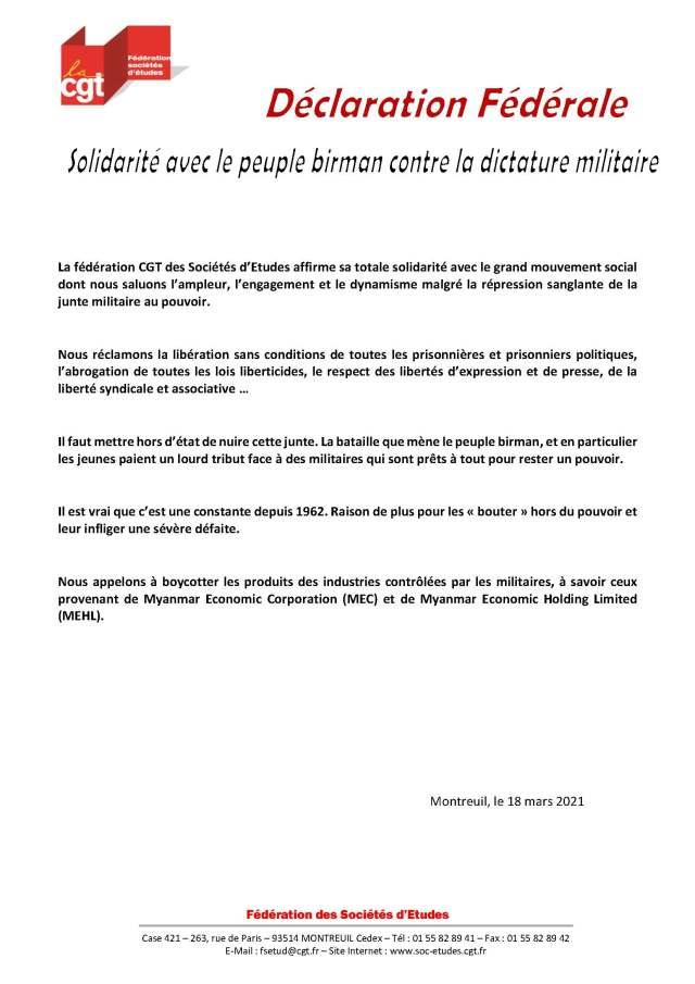 Solidarité avec le peuple birman contre la dictature militaire