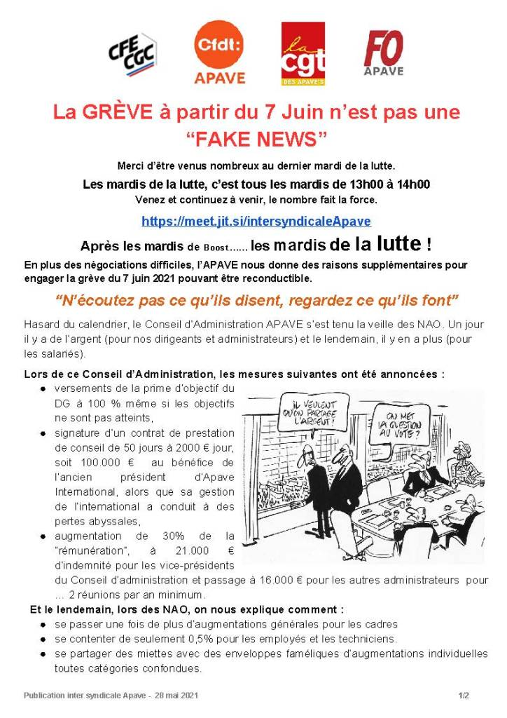 """APAVE : La grève à partir du 7 Juin n'est pas une """"Fake News"""""""