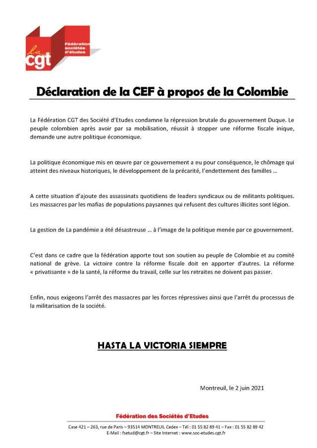 Déclaration de la CEF à propos de la Colombie