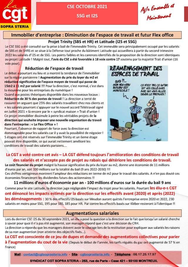 SOPRA-STERIA : Communication CGT CSE – octobre 2021
