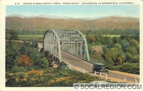 Original Santa Clara River bridge. Postcard is mislabeled as Castaic Creek, which was a thru-girder style.