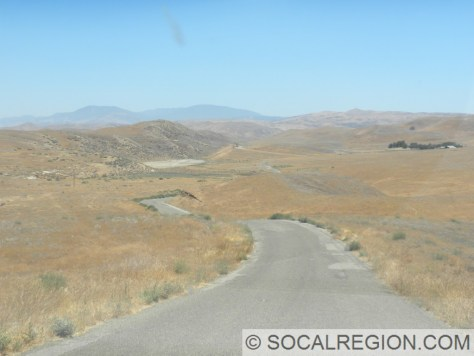 Sag Pond visible in the distance just north of Hwy 33. Distant mountains are Mt Pinos and the San Emigdio Mountains.