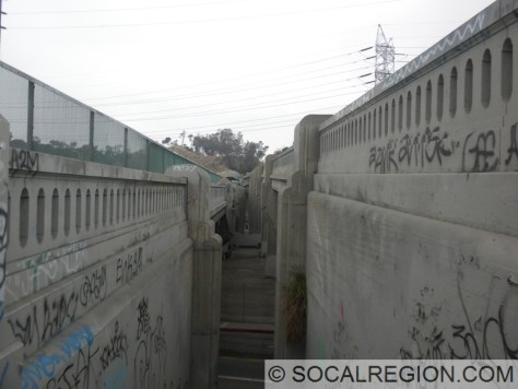 View southbound between the Los Angeles River bridges at the top of the stairs from Avenue 20.