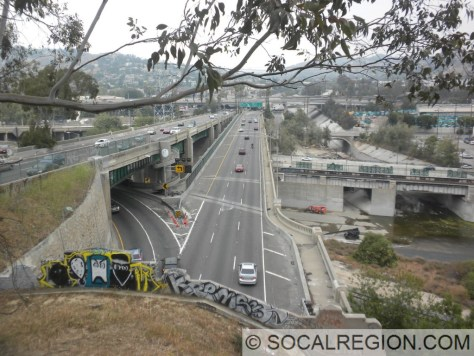 View of the northbound lanes from the top of Tunnel #4.