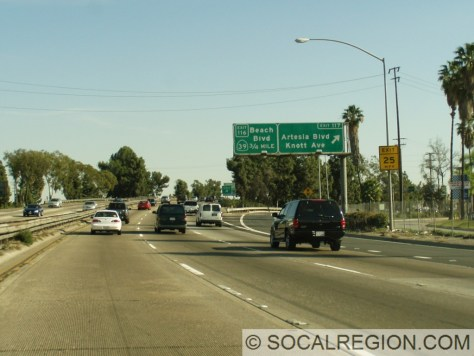 Old freeway configuration entering Orange County before recent reconstruction.