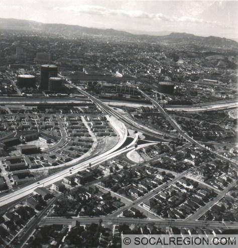 San Bernardino Split in 1948. Santa Ana Freeway comes from the left and heads towards the tanks in the distance. The San Bernardino Freeway is on the right.