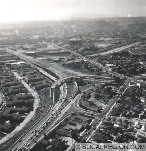 San Bernardino Split in 1955 with the WB 10 to SB 101 flyover ramp in place. It was removed in 1995.