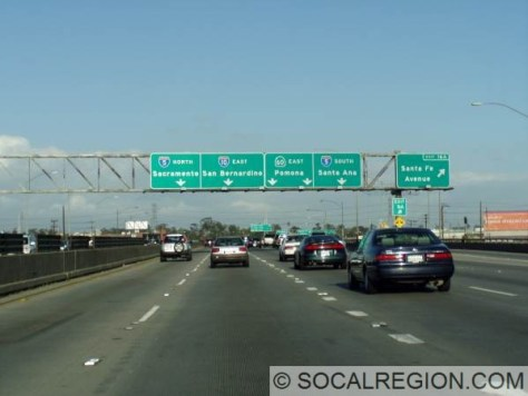 10 eastbound at Santa Fe Avenue. Signage here shows both I-5 and I-10 co-signed over the Golden State Freeway.