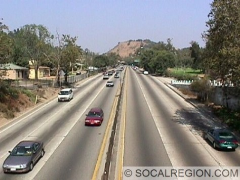 View northbound from the Ave Marisol Overcrossing. The pavement on the freeway is original from 1939-1940.