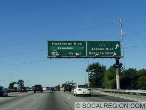 Here, I-405 meets SR-91. This far west, SR-91 is a surface street - Artesia Blvd.