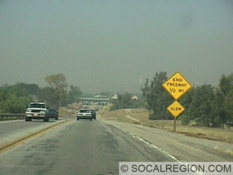 Nearing the end of the Super-2 freeway just west of the Buena Vista UC, 55-346.