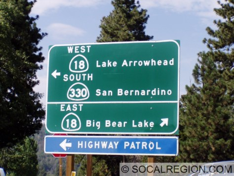 Signage for traffic coming from Hwy 330 and 18 Eastbound.