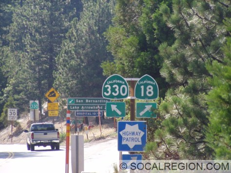 Signage at the 330 / 18 split.